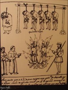 """Horca y hoguera a indios nobles e idólatras"". Crónica de Tlaxcala, 1585. Museo de la Memoria en Tlaxcala."